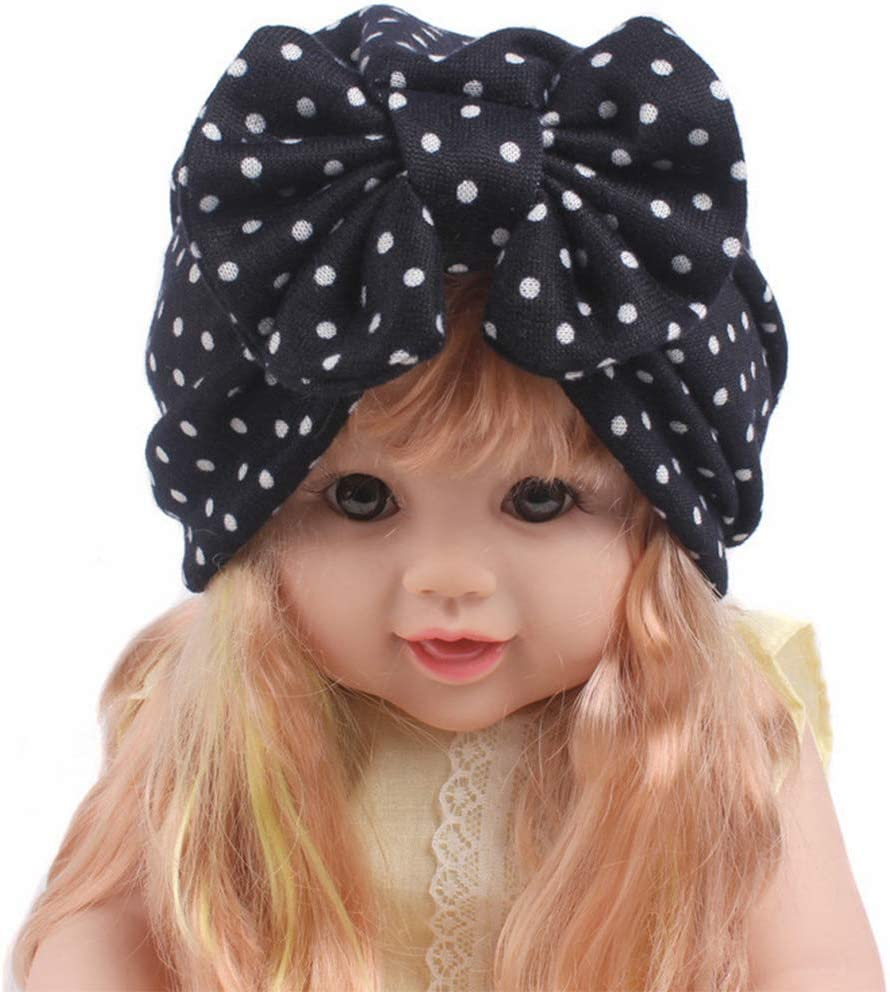 Baby M/ädchen Strick Dot Blumendruck Turban Hut Bowknot Beanie Cap Elastic C Haptian Stretchige M/ütze