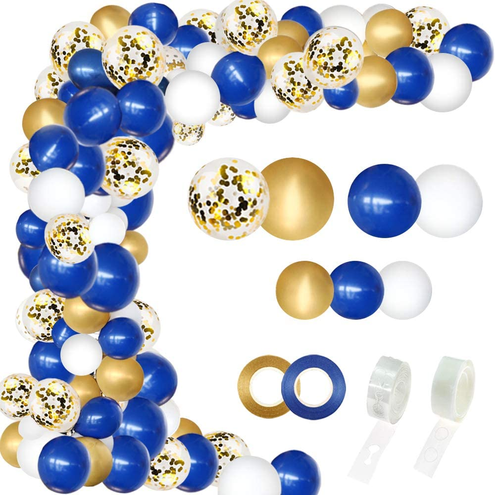 RUBFAC Navy Blue Balloon Garland Kit 146pcs, Navy Royal Blue White Pearlescent Latex Balloon Gold Confetti Metallic Balloon Arch with 16 Feet Strip and Glue for Shower Birthday Wedding Graduation Party Class Room DIY Decoration