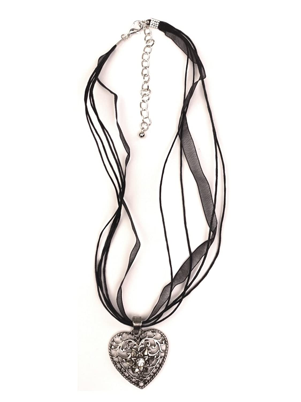 Trachten Halskette Herz Strass schwarz