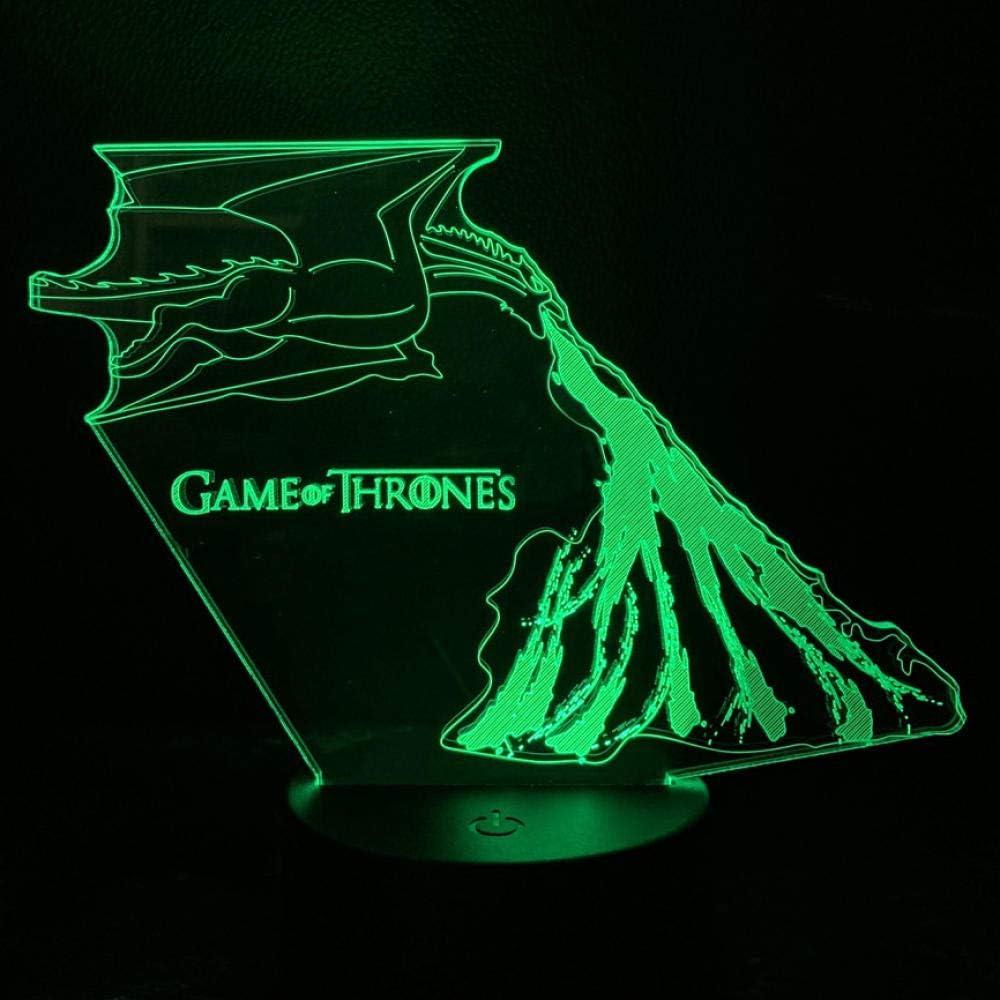 Lámpara de ilusión 3D Led Night Light Juego de tronos para niños Kite Fire Kite Daenerys Targaryen para niños Dormitorio
