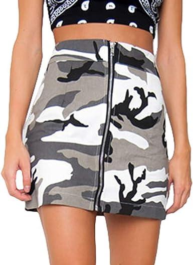Yying Falda De Camuflaje Mujer Sexy Minifalda de Cintura Alta con ...
