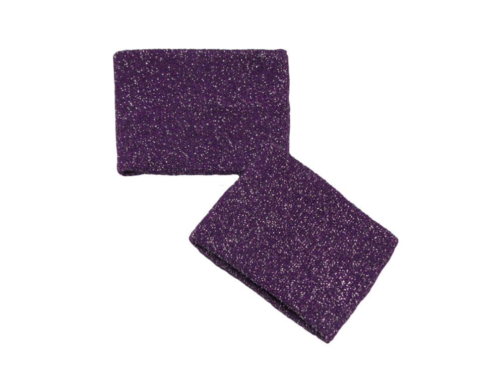 COUVER Cute Girl 2.5'' Width x 2'' Length Wristband, Glitter Purple(1 pair)