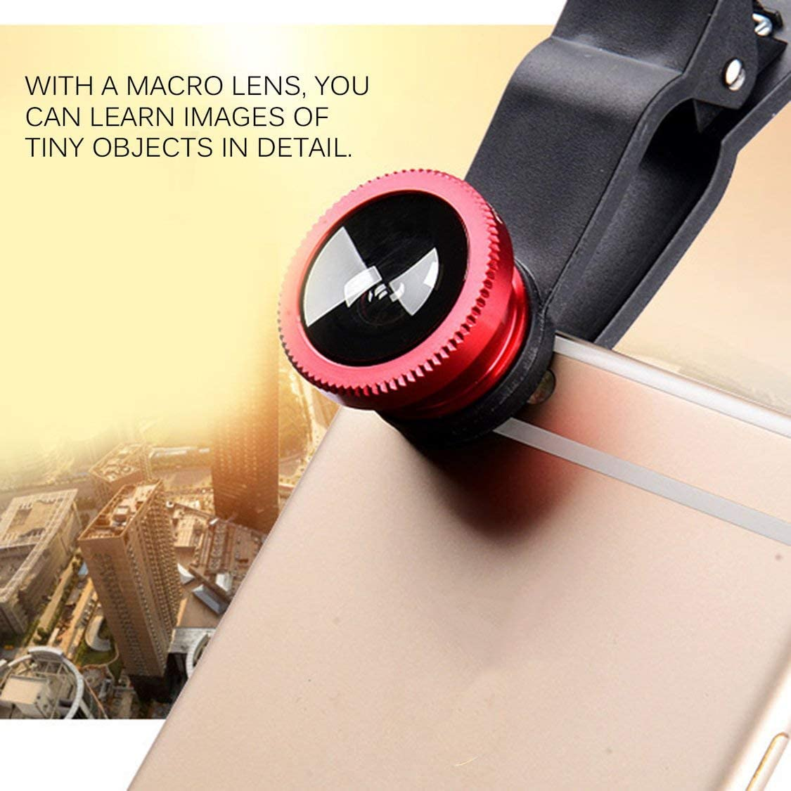 Black 【Majoxin】 Mobile Phone Camera Lens Kit Fish Eye Lens 2 in1 Macro Lens/& Super Wide Angle Lens with Black Universal Phone Clip