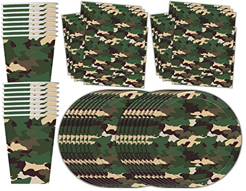 Camo Classic Birthday Party Supplies Set Plates Napkins Cups Tableware Kit for 16 (Army Birthday Party)