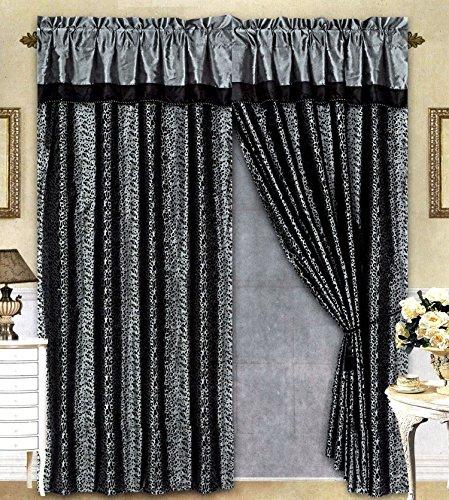 Amazon.com: Black/Grey Flocking Leopard Satin Window Curtain Drape ...