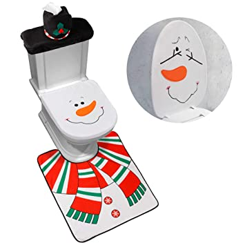 Sensational D Fantix 4 Piece Snowman Santa Toilet Seat Cover And Rug Set Red Christmas Decorations Bathroom Pabps2019 Chair Design Images Pabps2019Com