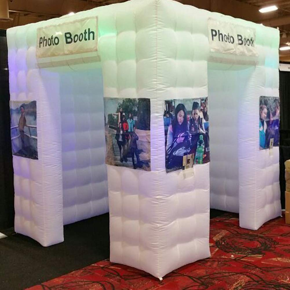Inflatable Portable Photo Booth Enclosure - Inflatable Photobooth with Led Lights 4 Bulbs and Inner Air Blower Photo Booth Cube for Party, Wedding, Birthday, Halloween Decoration (Two Door White) by AIRMAT FACTORY (Image #3)