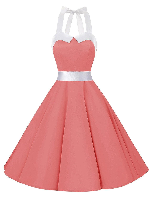 TALLA XL. Dressystar Vestidos Corto Cuello Halter Estampado Flores y Lunares Vintage Retro Fiesta 50s 60s Rockabilly Mujer Solid Coral XL