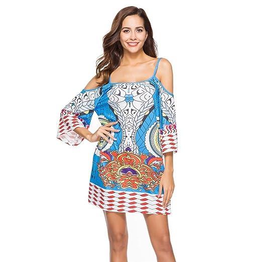dcd8627a46c Amazon.com  Auwer Sling National Wind Bohe Dress
