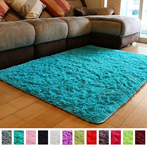 PAGISOFE Soft Fluffy Blue Area Rugs for Bedroom Kids Room Living Room Carpet Shag Furry Fur Rug for Boys Girls Dorm Room Modern Plush Decorative Nursery Rugs Solid Accent Floor Rugs 4'x 5',(Blue)
