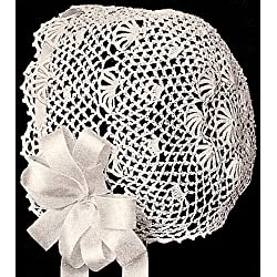 Vintage Crochet PATTERN to make - Antique Baby Cap Hat Bonnet Fan Design. NOT a finished item. This is a pattern and/or instructions to make the item only.