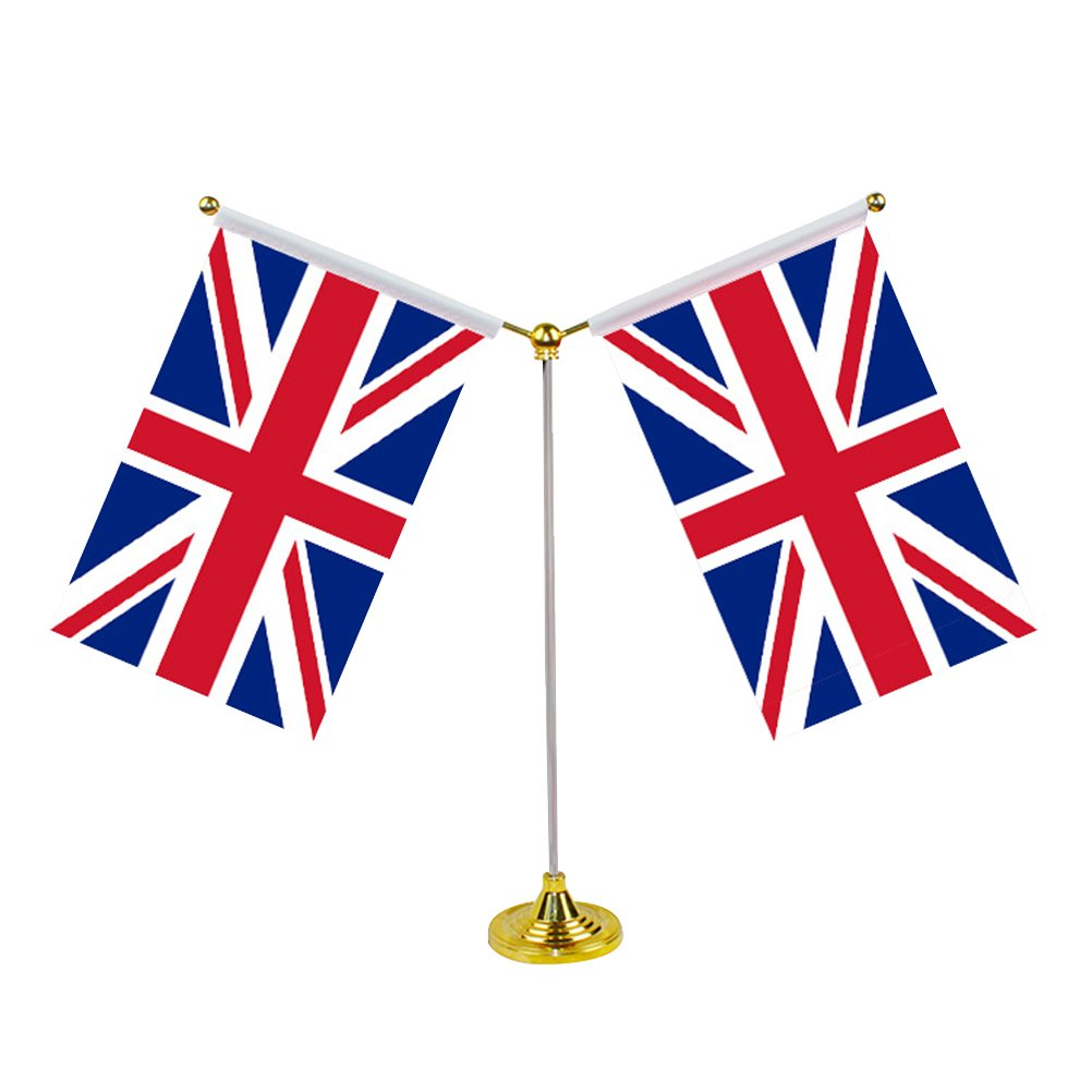 LUOEM UK Desktop Table Flags Britain Country Flag Desk Decoration with Base for Party Conferences