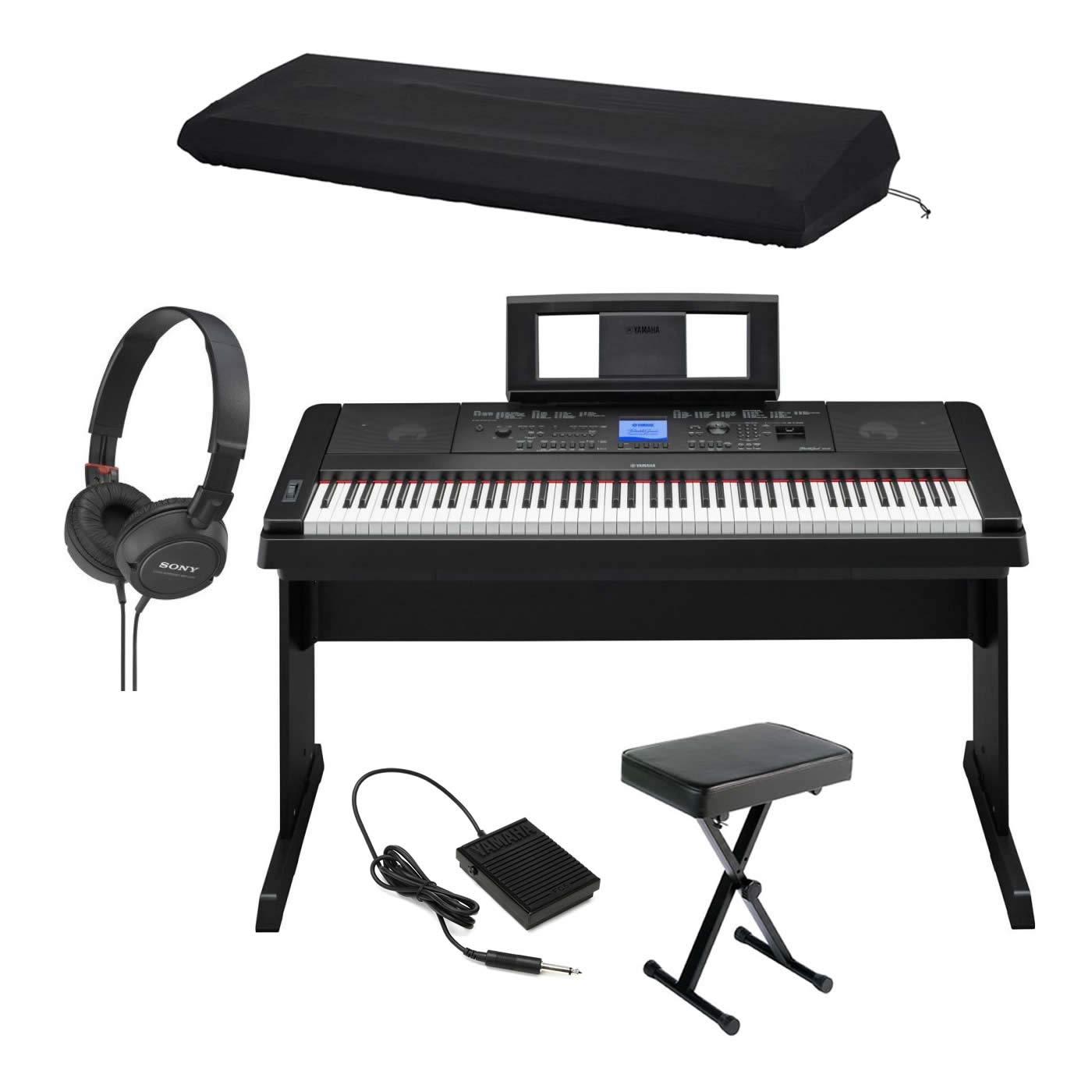 Yamaha DGX660B 88-Key Ensemble Digital Piano with Furniture Stand, Padded X-Style Piano Bench, Power Adapter, Footswitch, Dust Cover, and On-Ear Stereo Headphones by Yamaha-Genesis