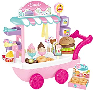 RVEE Ice Cream Dessert Toy Cart Play Set for Kids 36 PCS Pretend Play Candy Food Educational Ice-Cream Small Trolley Truck Great Gift for Girls Boys Ages 3 to 12 Years Old