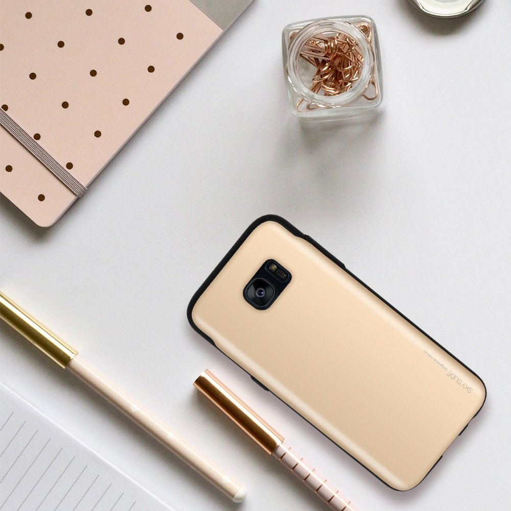Galaxy S7 Edge Case Goospery Sliding Card Holder Iphone 8 Sky Slide Bumper Gold Protective Dual Layer Tpu Pc Cover With Slot Wallet For Samsung S7e N Gld
