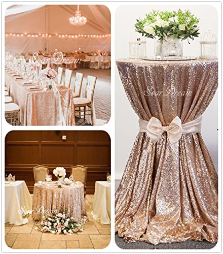 SoarDream Sequin Tablecloth Champagne Blush 50 inch Round Elegant Table (Sparkle Tablecloth)