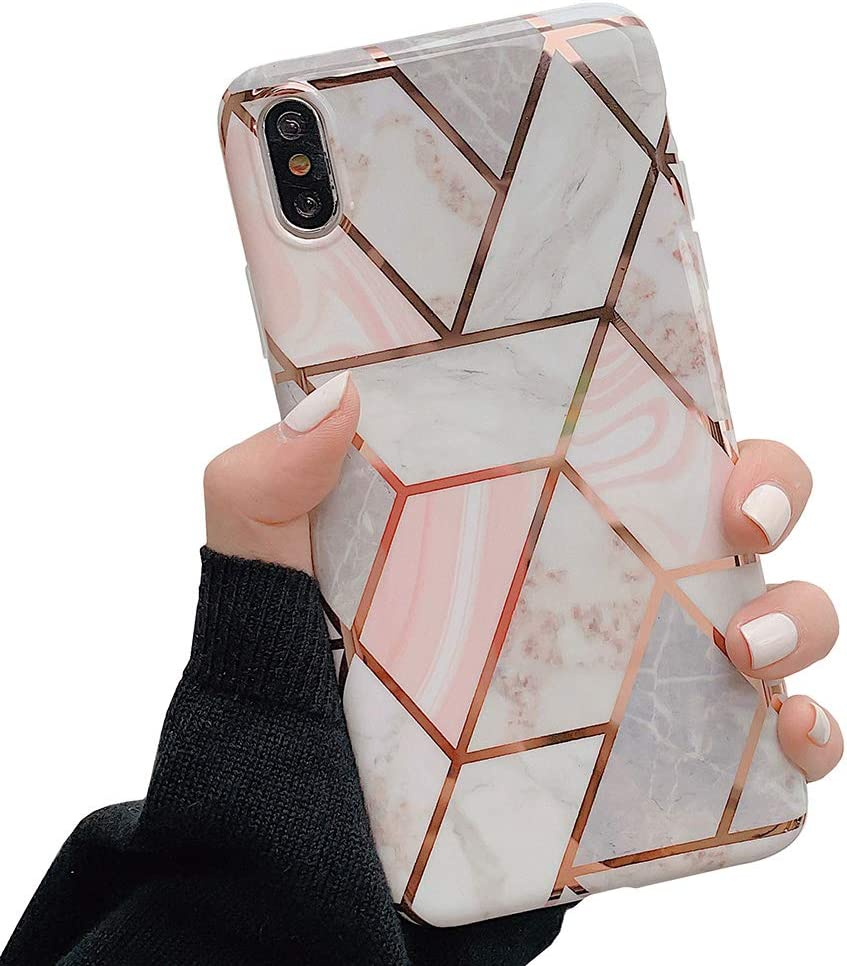 KERZZIL iPhone Xs/X Case, Stylish Shiny Rose Gold Glossy Marble Design Bumper TPU Phone Case Compatible with iPhone Xs/X 5.8