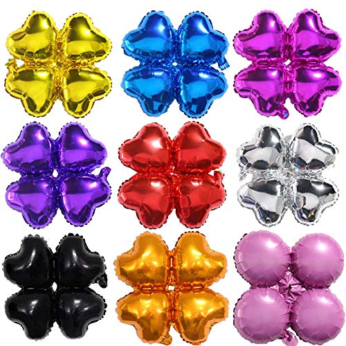50 Pcs Four-leaf Clover Heart Pattern Aluminum Air Film Balloons for Happy Birthday Wedding Party Festival Christmas Eve Decorations TONVER Foil Balloons