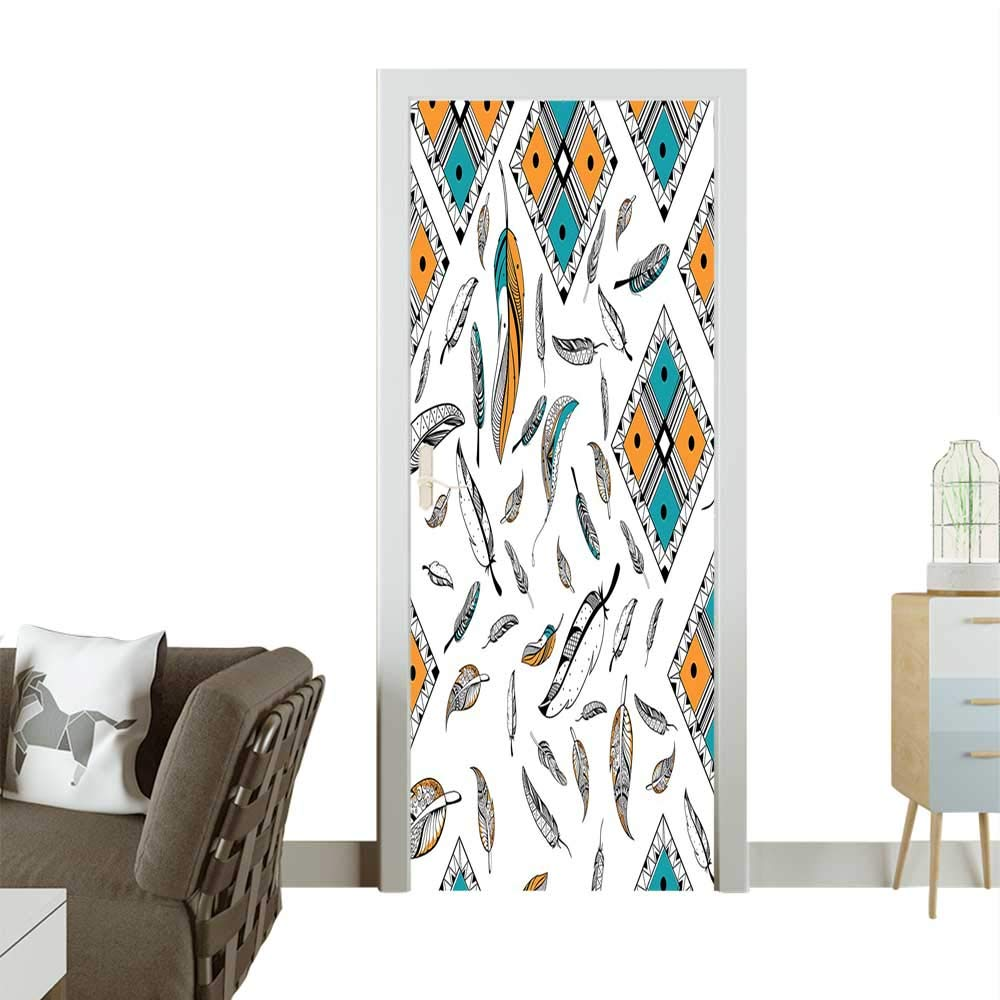 color04 W31 x H79 INCH Homesonne Waterproof Decoration Door Decals Vaned and Natal Tour Feathers Animal Skin Element Print Teal Brown Perfect ornamentW32 x H80 INCH