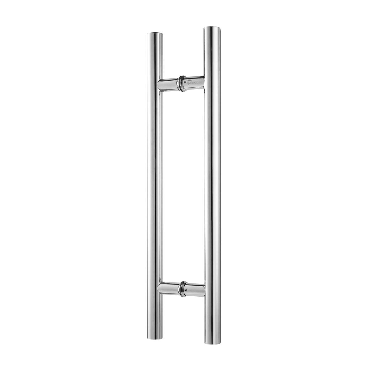 TOGU TG-6012 36 inches Solid Standoffs Heavy-Duty Commercial Grade-304 Stainless Steel Push Pull Door Handle/Barn Door Pull Handle/Glass Pulls, Mirror-Polished Chrome Finish