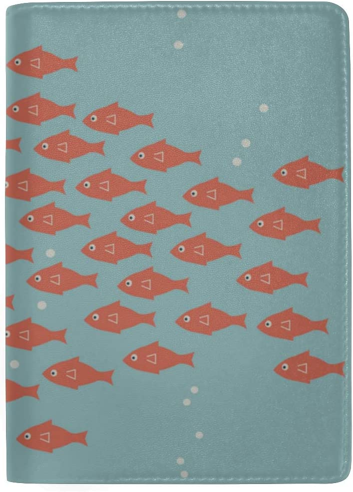Big Fish Eat Small Fish Blocking Print Passport Holder Cover Case Travel Luggage Passport Wallet Card Holder Made With Leather For Men Women Kids Family