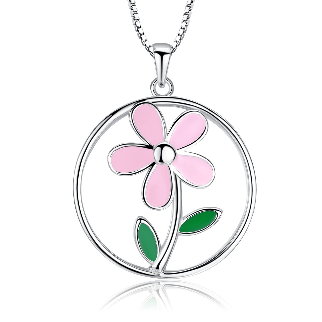 925 Sterling Silver Cute Flowers Pendant Necklace Fine Jewelry Gifts for Women Girls (big flower)