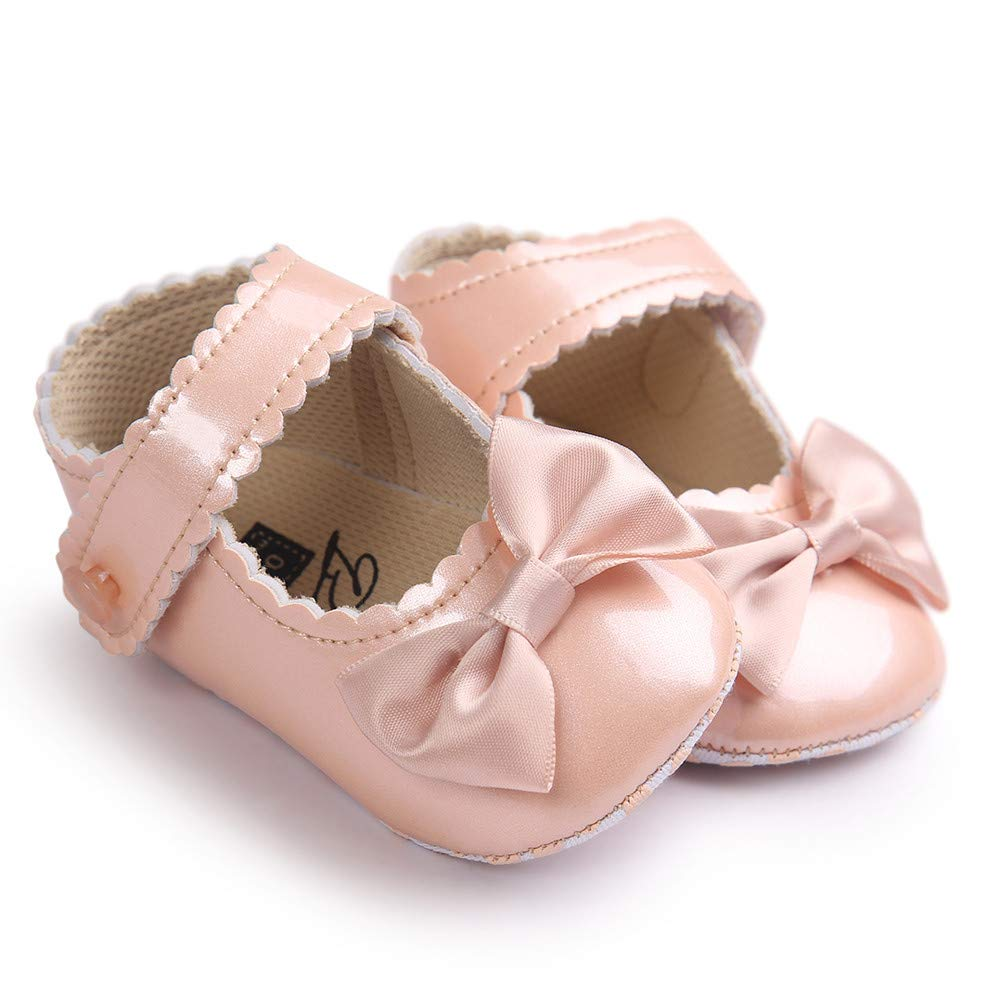 Lanhui Toddler Baby Girl Bowknot Leater Shoes Anti-Slip Soft Sole Sneaker