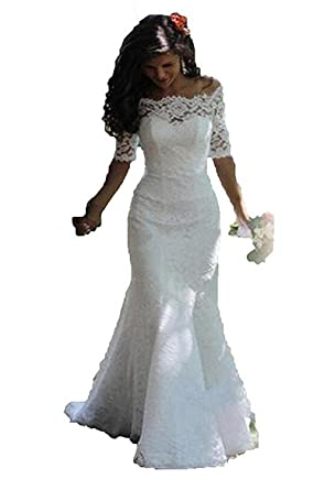 Luccatown Women\'s Mermaid Half Sleeve Full Lace Wedding Dress Off ...