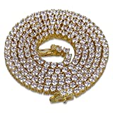 JINAO 1 Row 2.5MM Diamond Iced Out Chain Gold Plated Macro Pave CZ Hip Hop Tennis Necklace 18'' 22'' (Gold 18'')