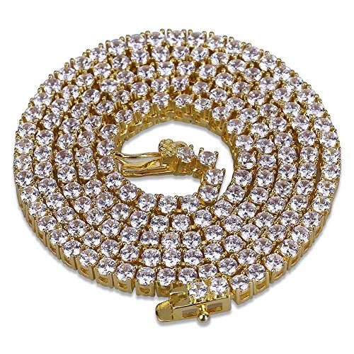 Hip Hop Diamond Necklaces - JINAO 1 Row 2.5MM Diamond Iced Out Chain Gold Plated Macro Pave CZ Hip Hop Tennis Necklace 18