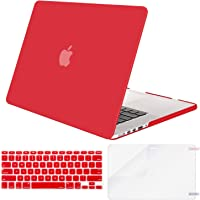 MOSISO MacBook Pro 13 Inch Case A1502 & A1425,Plastic Hard Shell Case & Keyboard Cover & Screen Protector Compatible with Older Version Mac Pro Retina 13 Release 2015 - End 2012, Red