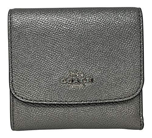 COACH Metallic Crossgrain Leather Small Wallet Gunmetal ()