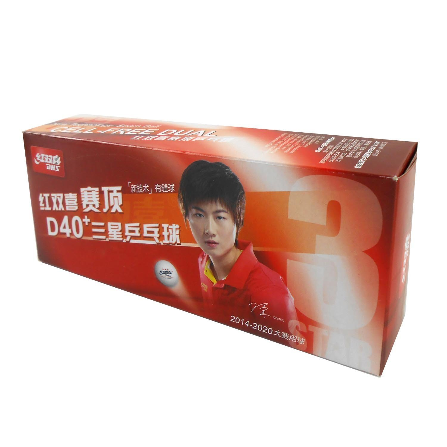 DHS 3 STAR ITTF 40+ Plastic Table Tennis Balls, 10 pieces