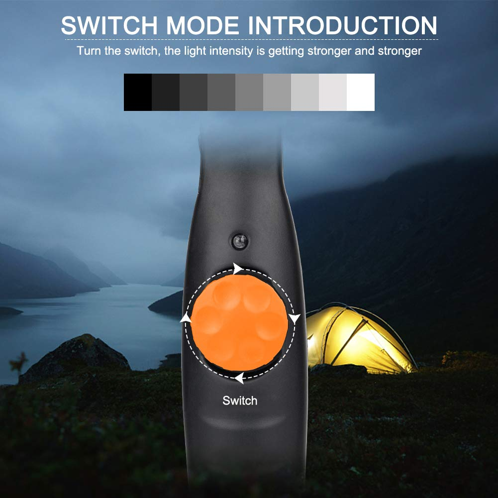 Winzwon Work Light Inspection Lamp LED Torch USB Rechargeable Spotlight Super Bright COB Flashlight with Magnetic Plate and Handing Hook for Workshop Household Automobile Camping Hiking Emergency Use