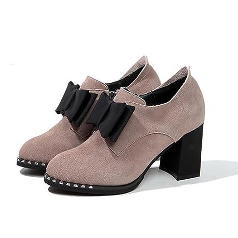 BOTAS HAIZHEN Ladies Girls Botines Zapatos de mujer Otoño Invierno Tacones de Confort Talón Chunky Toe