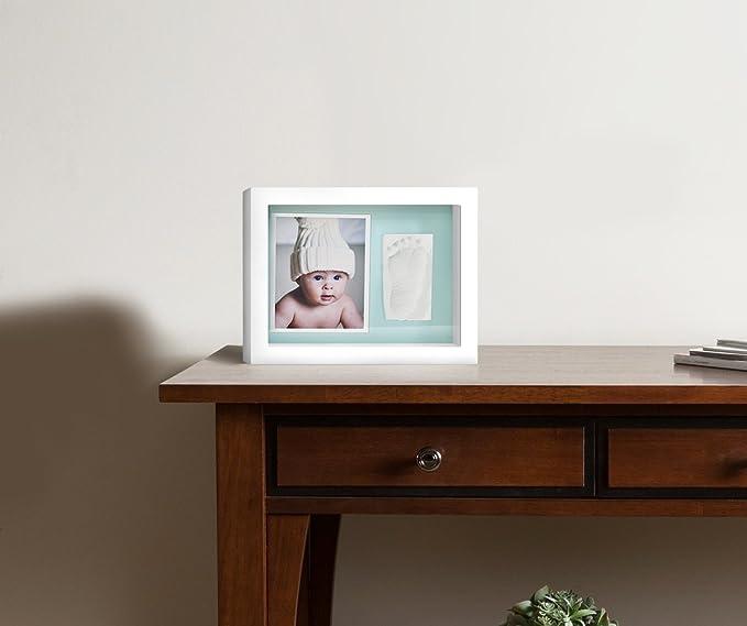 Marco de Fotos para Bebé - 3D Marco de Huellas para Niños - Regalos para Bebé Recién Nacido,Fondo Azul