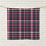 smallbeefly Plaid Hand Towel Classical Pattern with Traditional Origins Irish Country Retro Style Simple Checkered Quick-Dry Towels Multicolor Size: W 20'' x L 22''