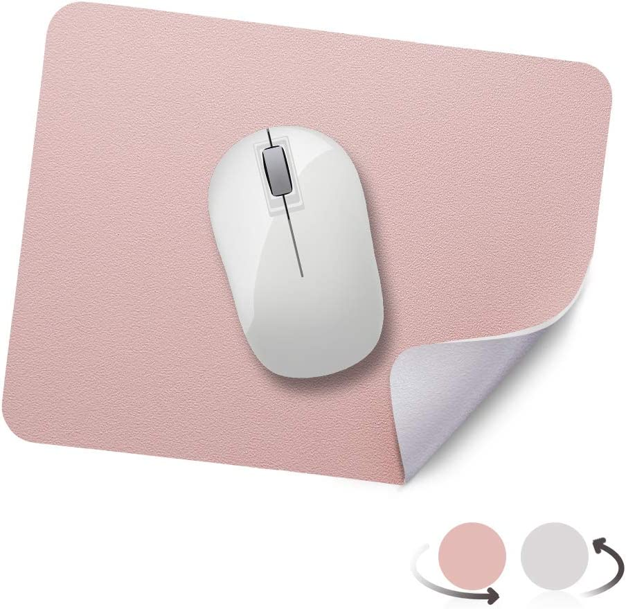 """AtailorBird Mouse Pad Small Waterproof PU Leather Dual-Sided Mat 10.6""""x8.2"""" for Laptop Computer Home Office, Nude Pink/Silver"""
