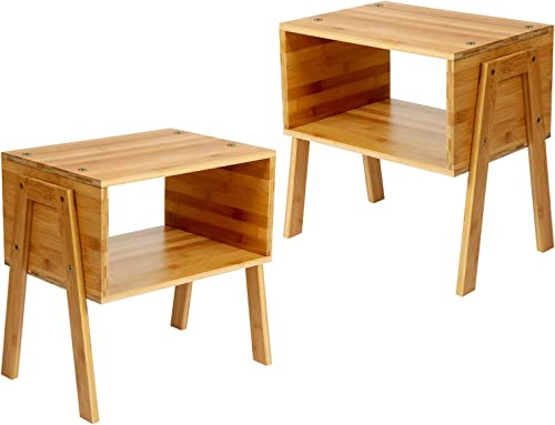 Bamboo Stackable End Tables, Living Room Nightstand, Bedside Tables for Bedroom Nursery Room Laundry Room Study Room Small Spaces Storage by Pipishell, Set of 2