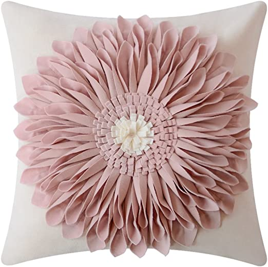 "Ships Free! Cotton hand Embroidered Pillow Case 12/""x 16/""  Pink with Flowers"