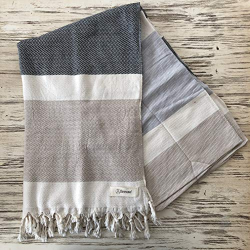 (Bersuse 100% Cotton - Aspendos Extra Large (XL) Throw Blanket Turkish Towel - Bath Beach Fouta Peshtemal - Bed, Couch Throw, Table Cover, Picnic Mat - Handloom Diamond - 60X90 Inches, Black-Grey-Beige)