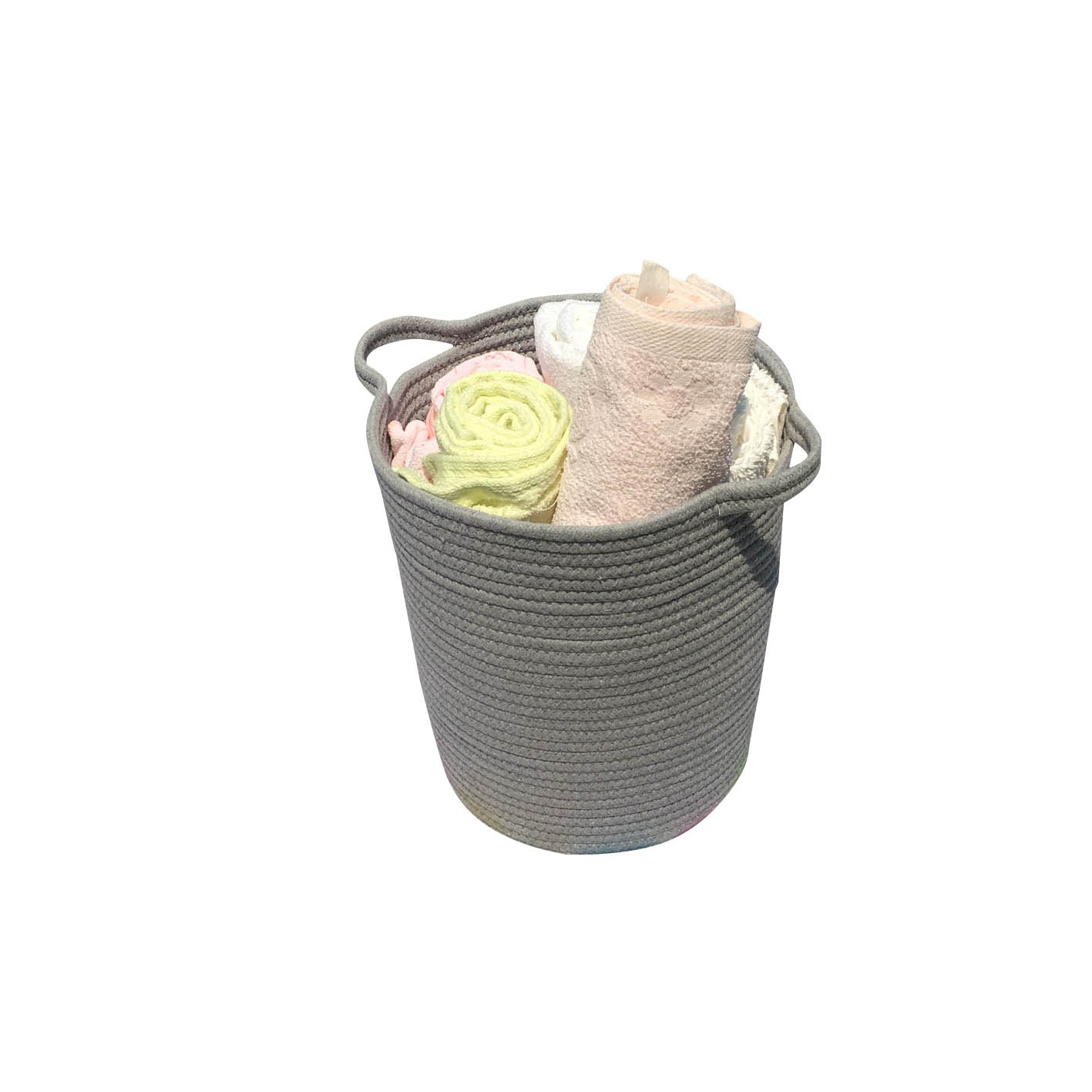 ICEBLUE 1.2''X13.7''X11.8 Cotton Rope Storage Basket with Handles Clothes Hamper Toys Nursery Bins Closet Organization (Grey) The Best Time 34101042