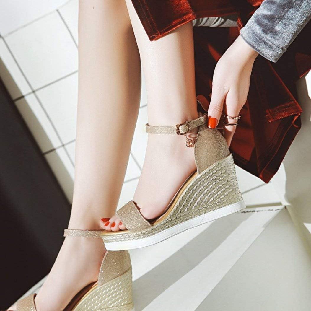Alpargata de Las Mujeres Sandalia de cuña con Lentejuelas Hebilla de Tela Fiesta Boda Zapatos de Vestir de tacón Alto Plata