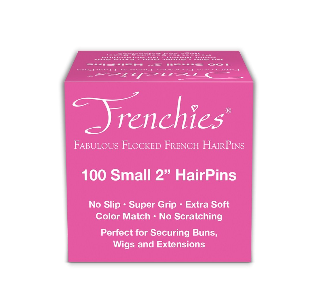 Frenchies Ultra Flocked Extra Soft French Twist Hair Pins: The French Hair Pins for Buns, Updo Hairstyles, Hair Extensions + Wigs - 100 Count Blond Small (2 inch)