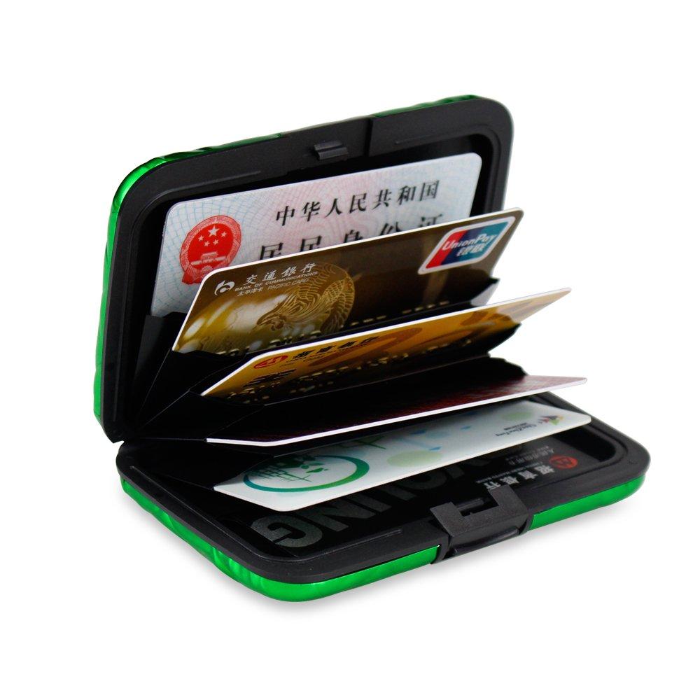 OBO HANDS 175pcs Aluminum Metal Bankcard Blocking Hard Case Wallet Credit Card Anti-RFID Scanning Protect Holder Multiple Colour Card Case(green)