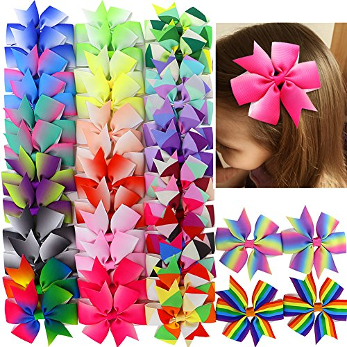 40pcs Hair Bows For Girls Grosgrain Ribbon Rainbow Pinwheel Boutique Bow Clips For Teens Kids Toddler Pigtails (20colors x 2) - Ribbon Boutique Bow
