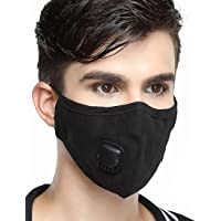 Reusable Dustproof Mask - Activated Carbon N95 Dust Mask PM2.5 Windproof Foggy Haze Pollution Respirator with Valve Replaceable Filters (Black, Man)