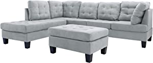 Casa Andrea Milano LLC 3 Piece Modern Tufted Micro Suede L Shaped Sectional Sofa Couch with Reversible Chaise & Ottoman, Large, Light Grey