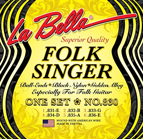 LaBella (830) String Type Folksinger Set, Black Nylon Daddario Nylon Folk Strings