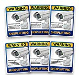 "Shoplifting Security Camera Warning Decals. 6 Pack. 5""X6.5"" USA Made."